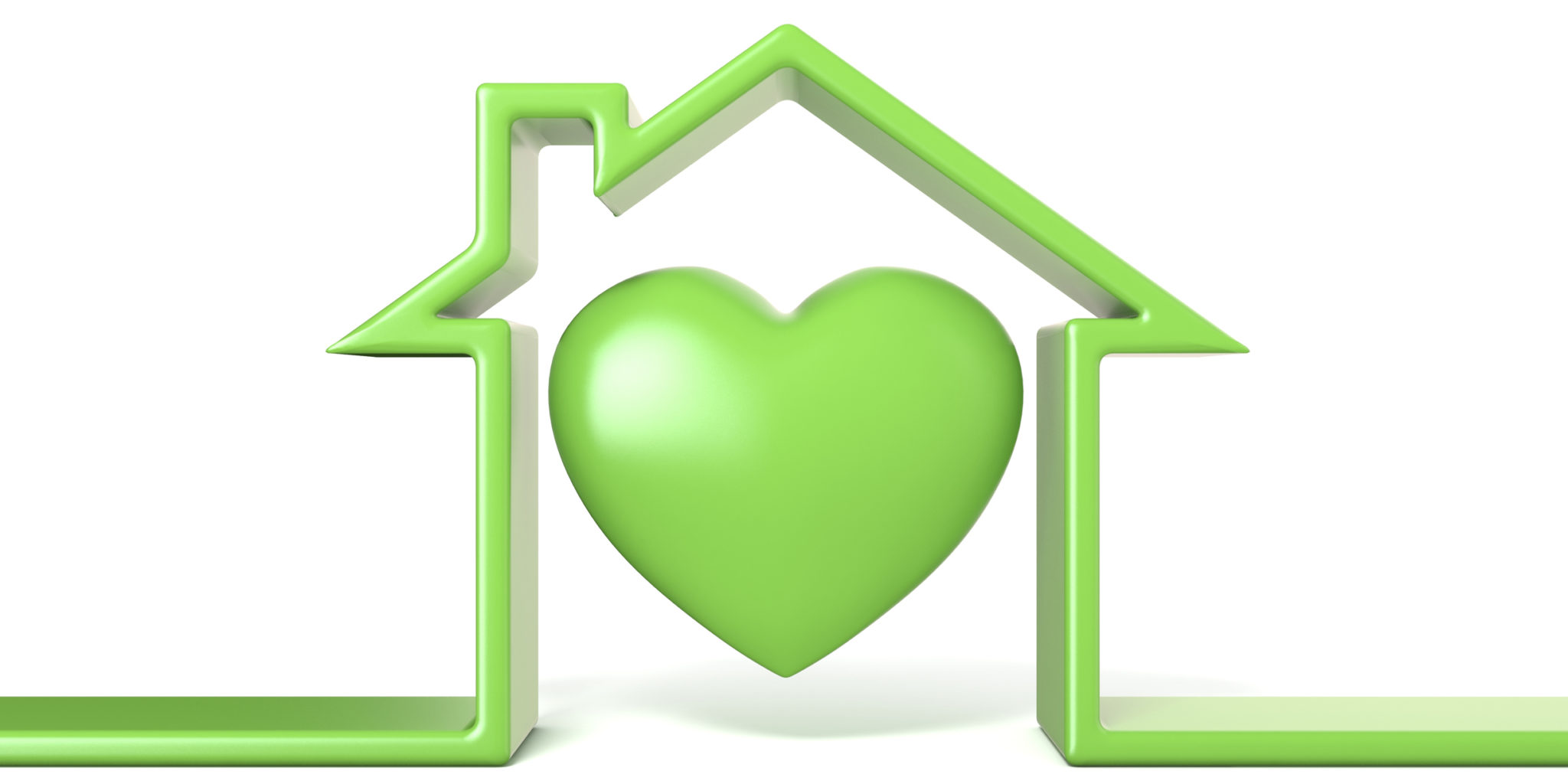 Heart in house made of green line 3D render illustration isolated on white background